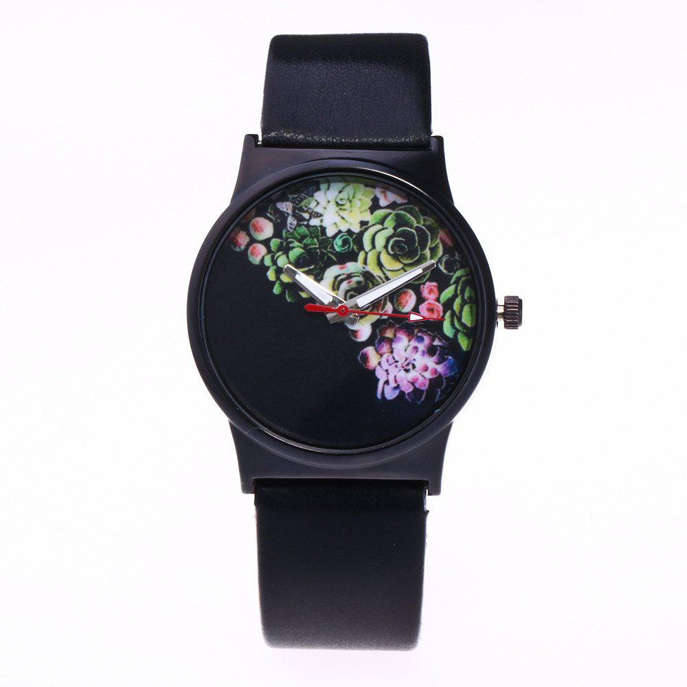 Fashionable Woman Flower Pattern Quartz Watch - BLACK