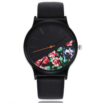 Vintage Leather Band Women Flower Pattern Casual Quartz Watch - 1#