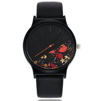 Vintage Leather Band Women Flower Pattern Casual Quartz Watch - 7#