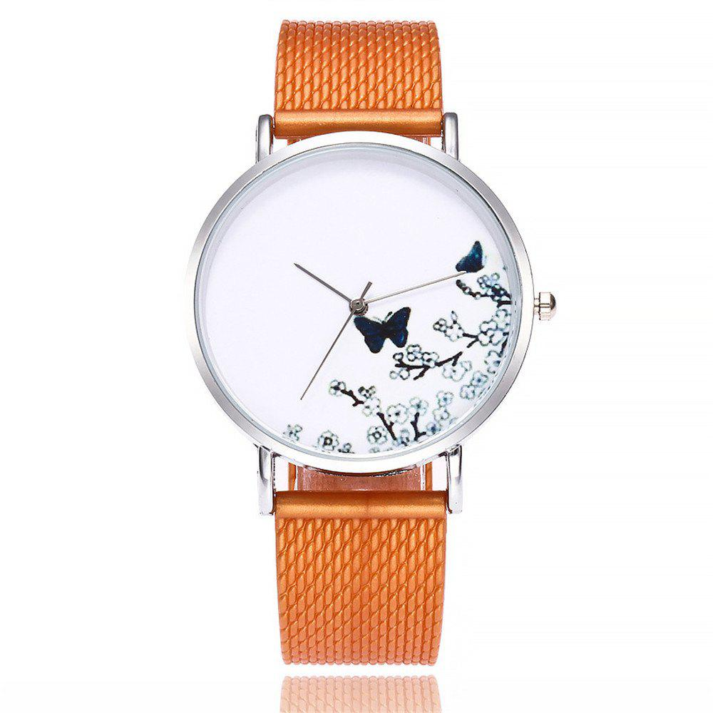 Fashion Butterfly Print Watch Women Quartz Watch - KHAKI