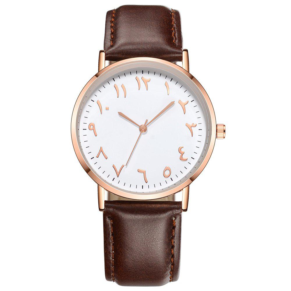 Fashionable Unisex Business Quartz Watch - BROWN