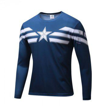 Long Sleeve T-shirt Fashion Menswear - BLUE BLUE