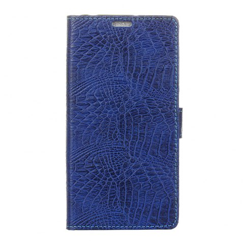 Wkae Retro Crocodile Pattern Business Leather Case for Doogee X30 - BLUE