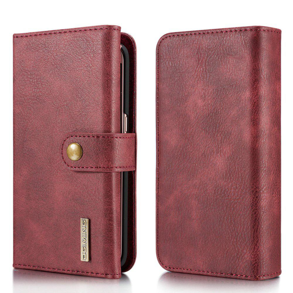DG.MING Premium Genuine Leather Cowhide 3 Folding Wallet Case for Samsung Galaxy S7 - RED