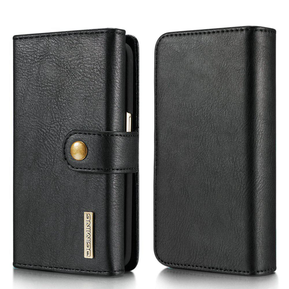 DG.MING Premium Genuine Leather Cowhide 3 Folding Wallet Case for Samsung Galaxy S7 - BLACK