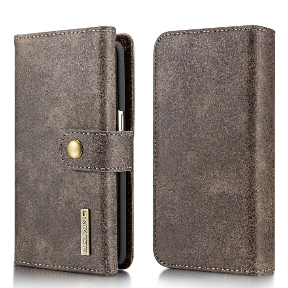 DG.MING Premium Genuine Leather Cowhide 3 Folding Wallet Case for Samsung Galaxy S7 - GRAY