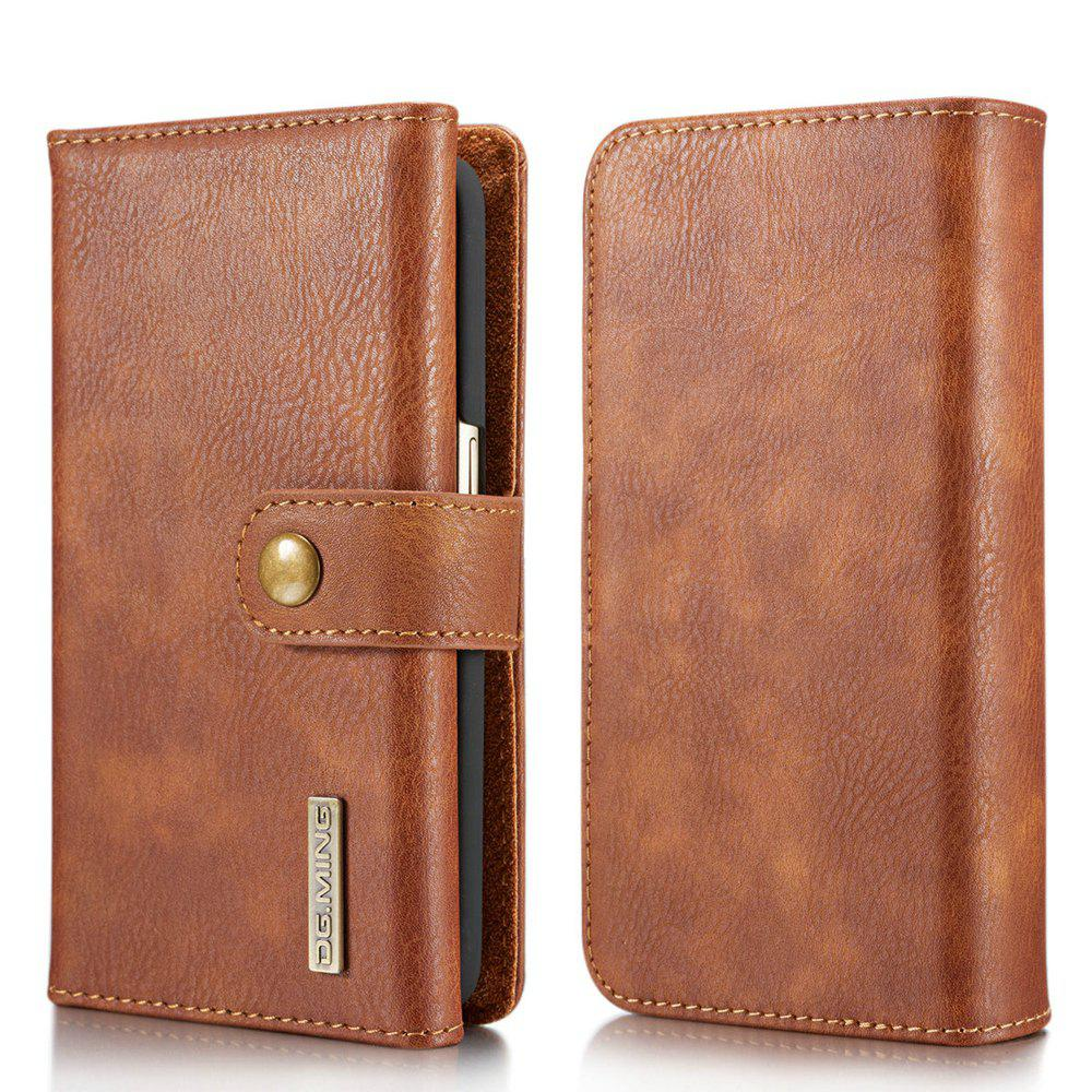 DG.MING Premium Genuine Leather Cowhide 3 Folding Wallet Case for Samsung Galaxy S7 - BROWN