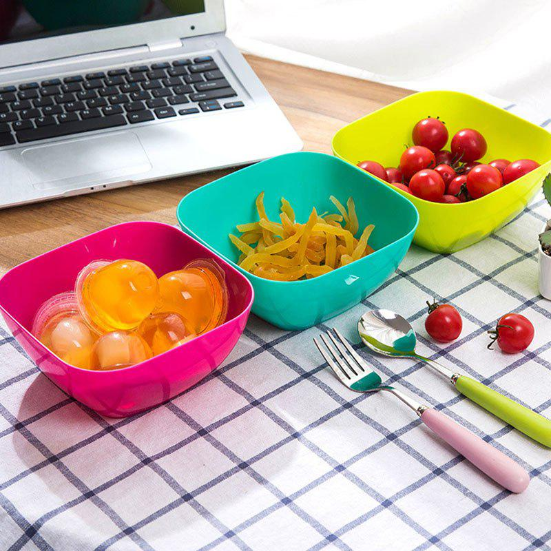 DIHE Plastic Square Snack Bowls Durable Various Styles - GREEN