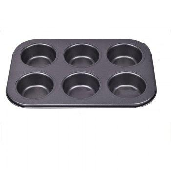 DIHE Cake Carbon Steel Baking Tool 6 Muffin Cake - BLACK BLACK