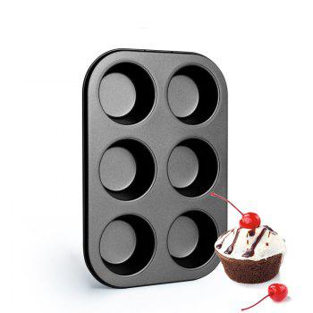 DIHE Cake Carbon Steel Baking Tool 6 Muffin Cake - BLACK
