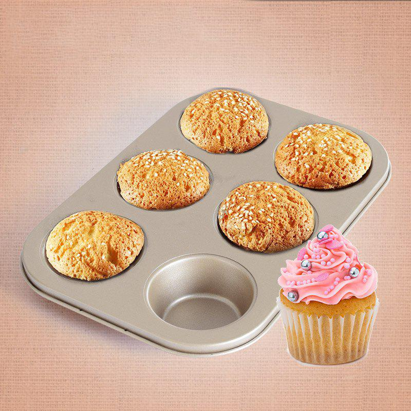 DIHE Cake Carbon Steel Baking Tool 6 Muffin Cake - GOLDEN