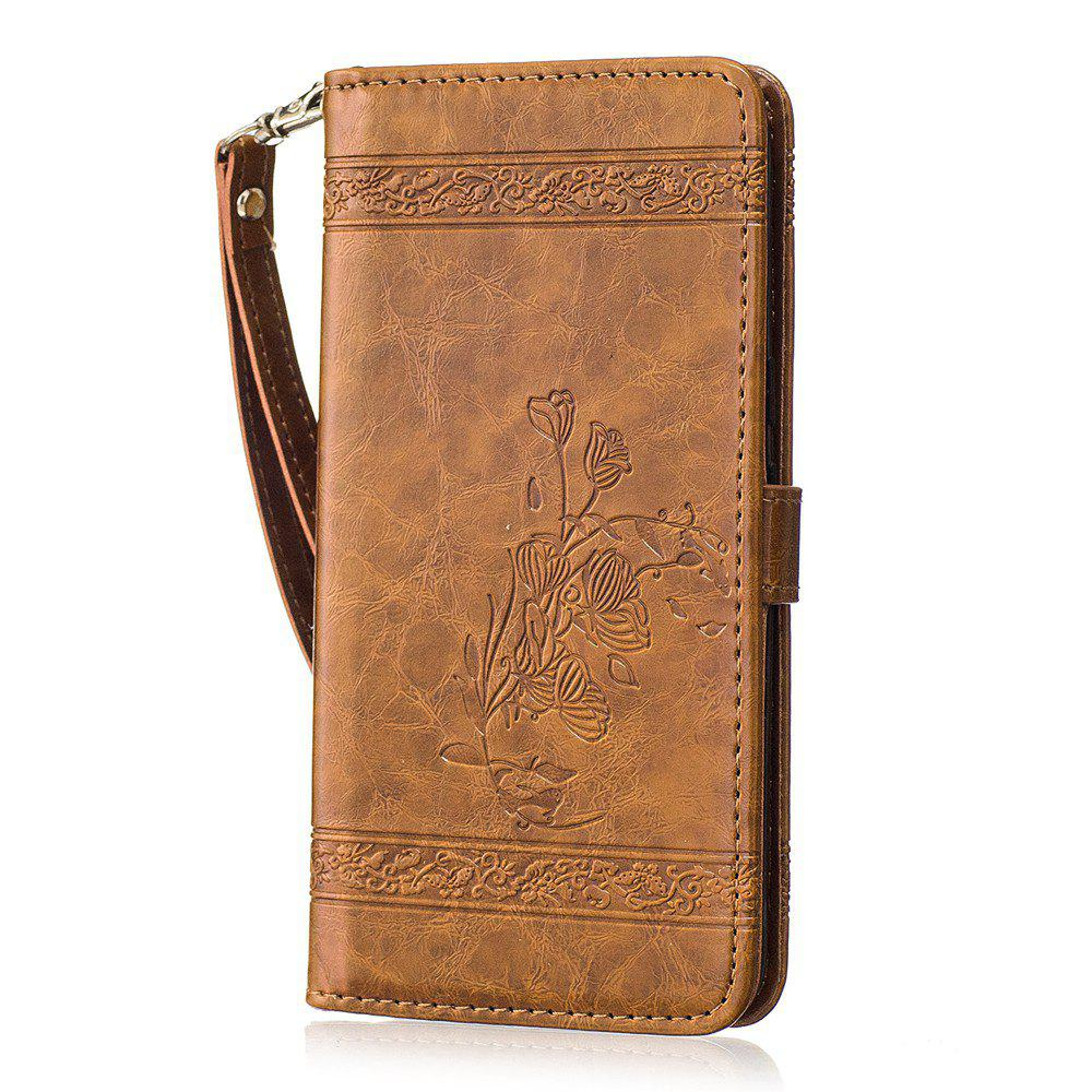 Genuine Quality Retro Style Oil Wax Flower Pattern Flip PU Leather Wallet Case for Motorola Moto G4 - BROWN