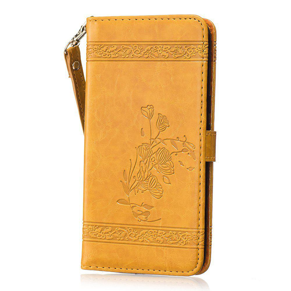 Genuine Quality Retro Style Oil Wax Flower Pattern Flip PU Leather Wallet Case for Motorola Moto G4 - GOLDEN
