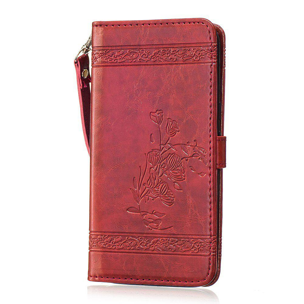 Genuine Quality Retro Style Oil Wax Flower Pattern Flip PU Leather Wallet Case for Motorola Moto G4 - RED