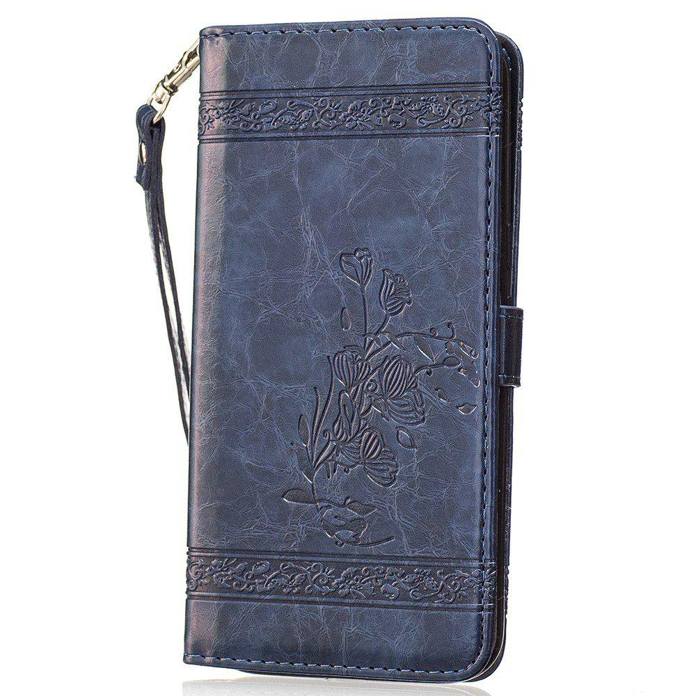 Genuine Quality Retro Style Oil Wax Flower Pattern Flip PU Leather Wallet Case for Motorola Moto G4 - BLUE