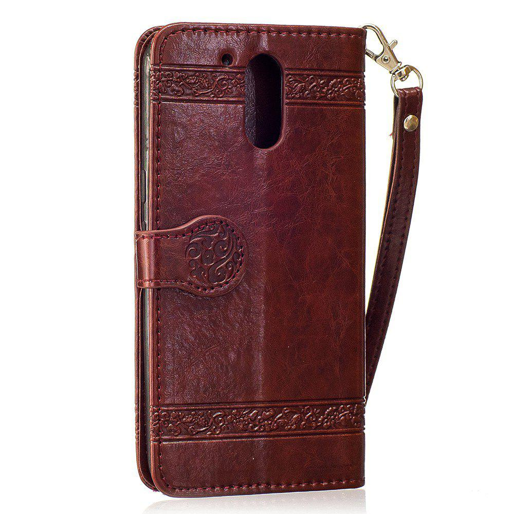 Genuine Quality Retro Style Oil Wax Flower Pattern Flip PU Leather Wallet Case for Motorola Moto G4 - WINE RED