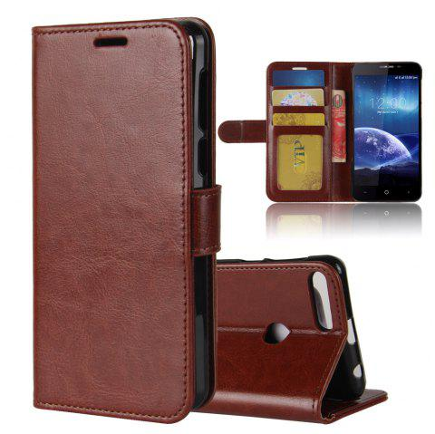Durable Crazy Horse Pattern Back Buckle Flip PU Leather Wallet Case for Leagoo Kiicaa Power - BROWN