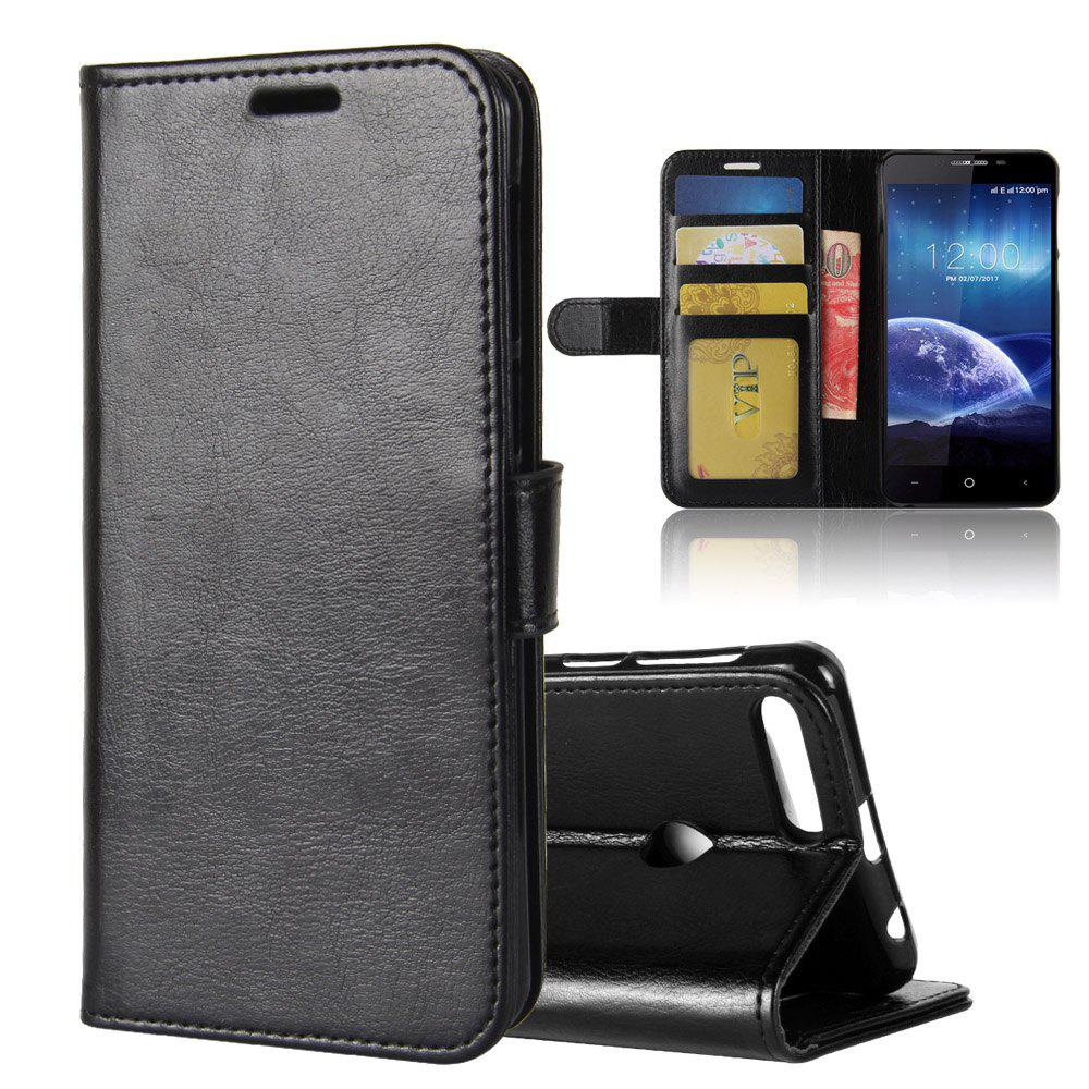 Durable Crazy Horse Pattern Back Buckle Flip PU Leather Wallet Case for Leagoo Kiicaa Power - BLACK
