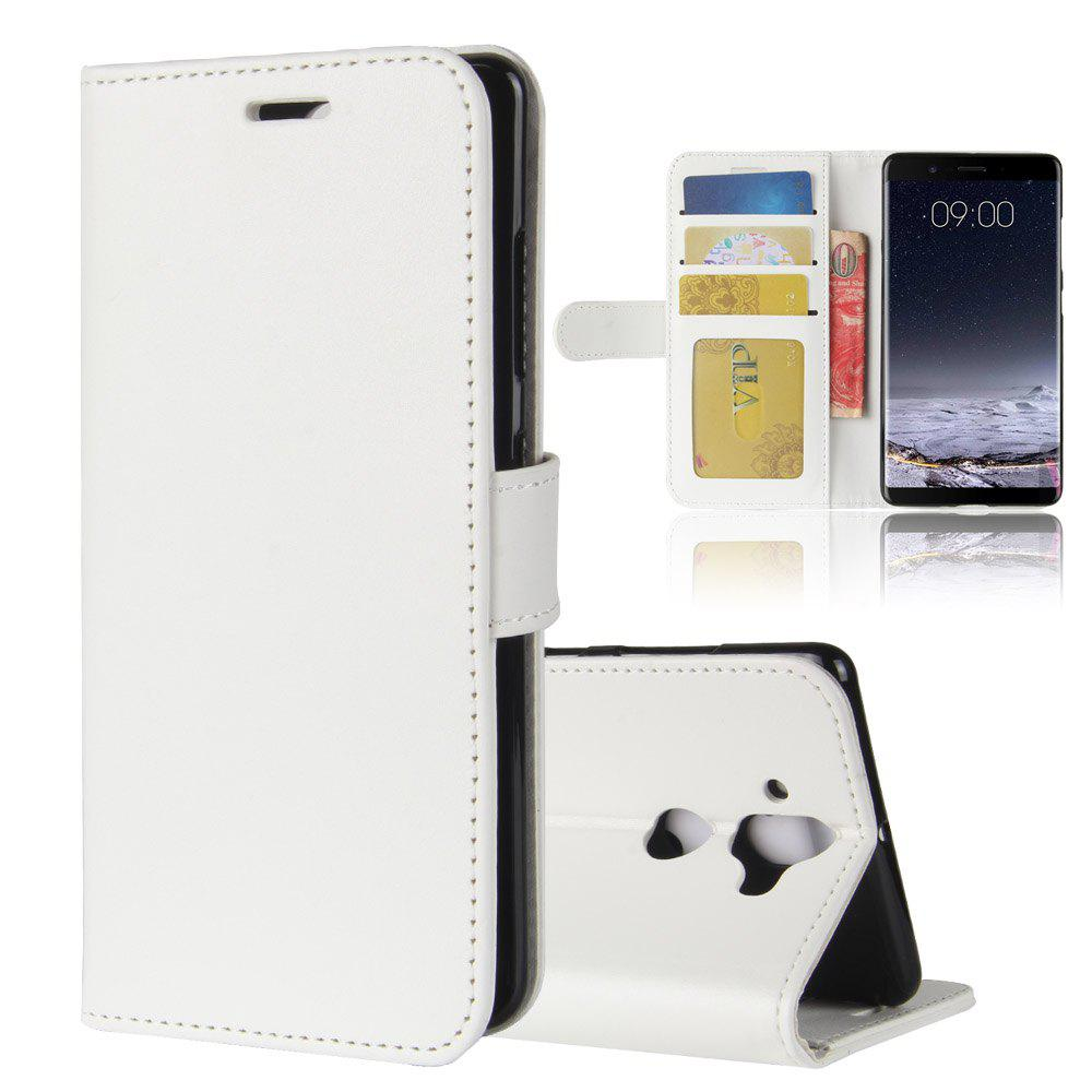 Durable Crazy Horse Pattern Back Buckle Flip PU Leather Wallet Case for Nokia 9 - WHITE