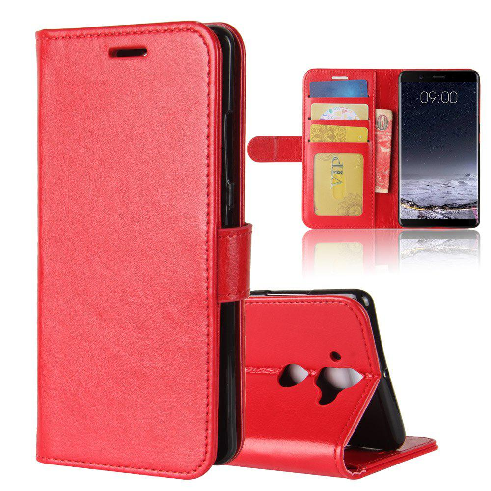 Durable Crazy Horse Pattern Back Buckle Flip PU Leather Wallet Case for Nokia 9 - RED
