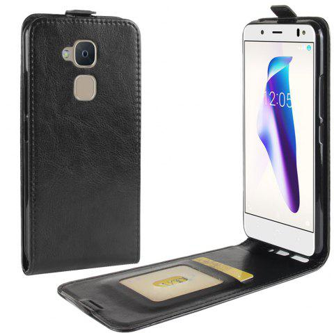 Durable Crazy Horse Pattern Up and Down Style Flip Buckle PU Leather Case for BQ Aquaris V - BLACK