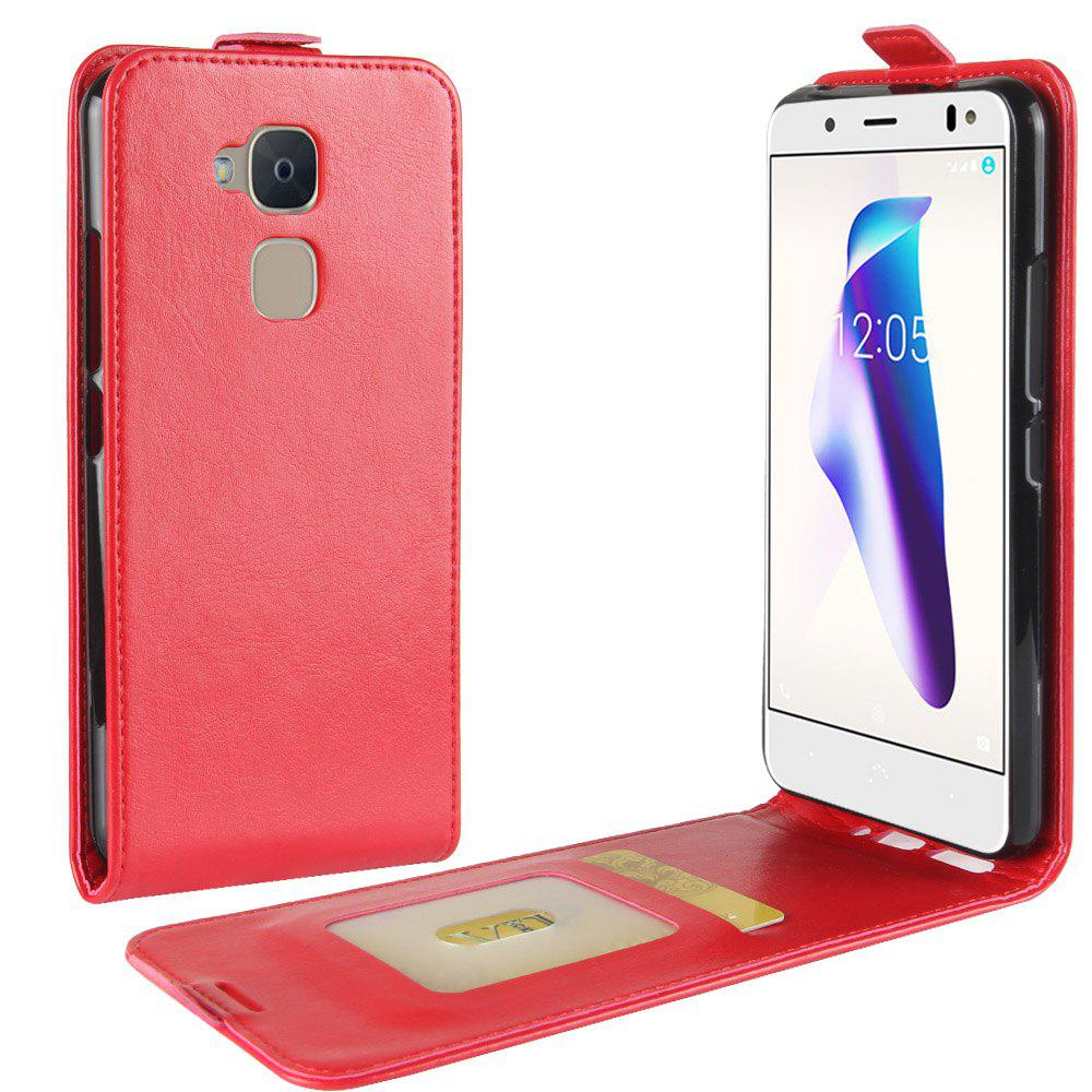 Durable Crazy Horse Pattern Up and Down Style Flip Buckle PU Leather Case for BQ Aquaris V - RED