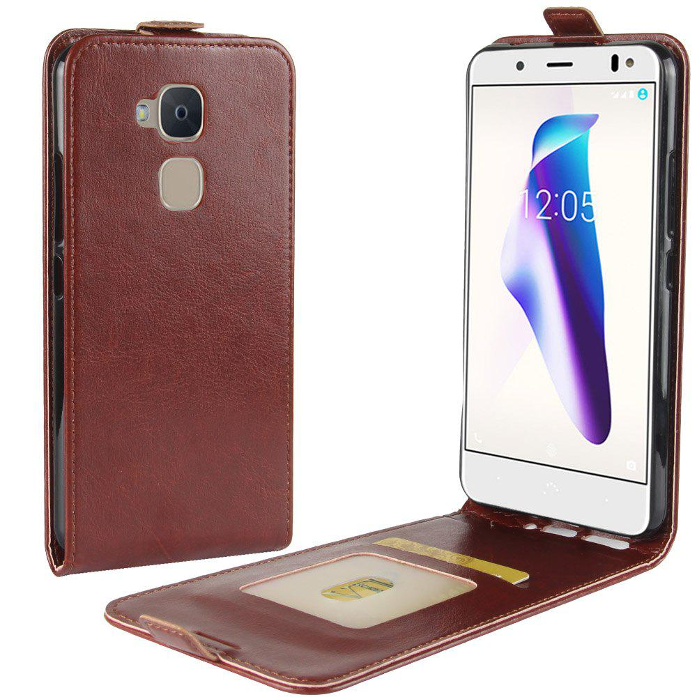 Durable Crazy Horse Pattern Up and Down Style Flip Buckle PU Leather Case for BQ Aquaris V - BROWN