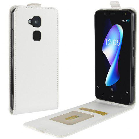 Durable Crazy Horse Pattern Up and Down Style Flip Buckle PU Leather Case for BQ Aquaris V Plus - WHITE