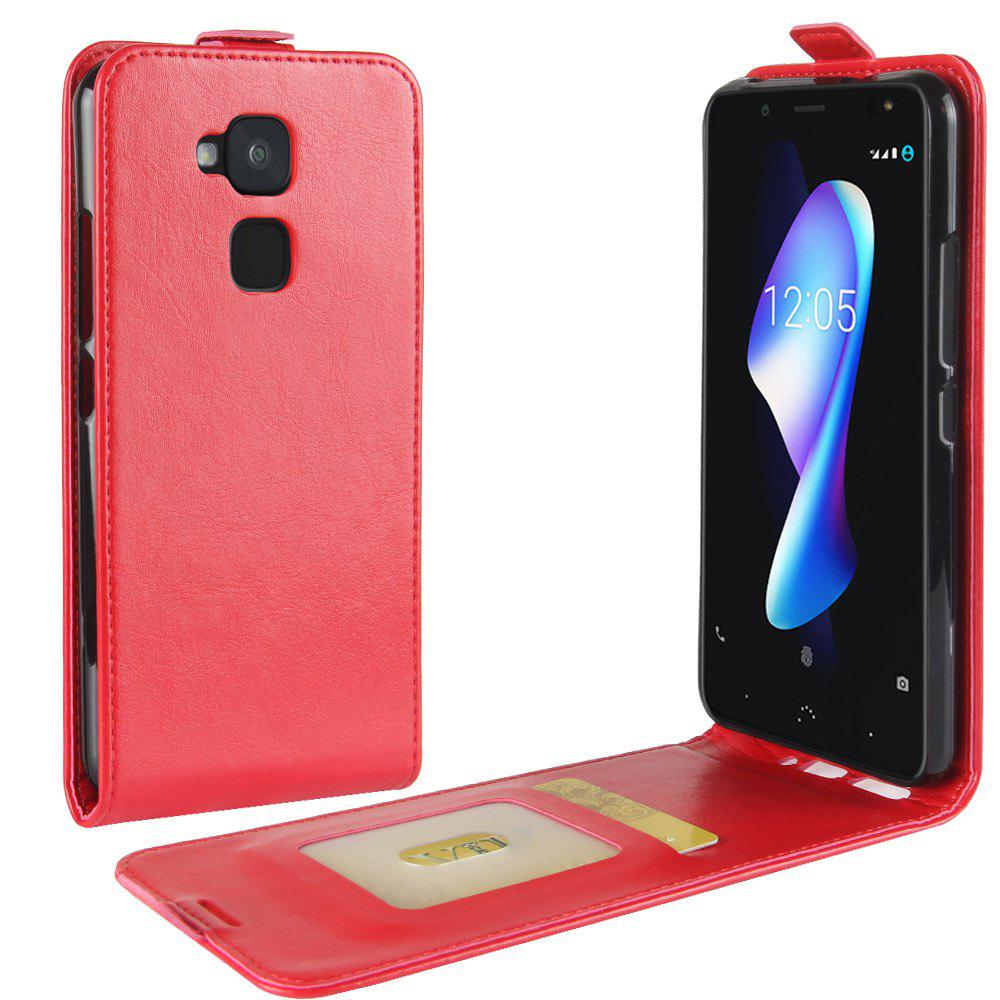 Durable Crazy Horse Pattern Up and Down Style Flip Buckle PU Leather Case for BQ Aquaris V Plus - RED