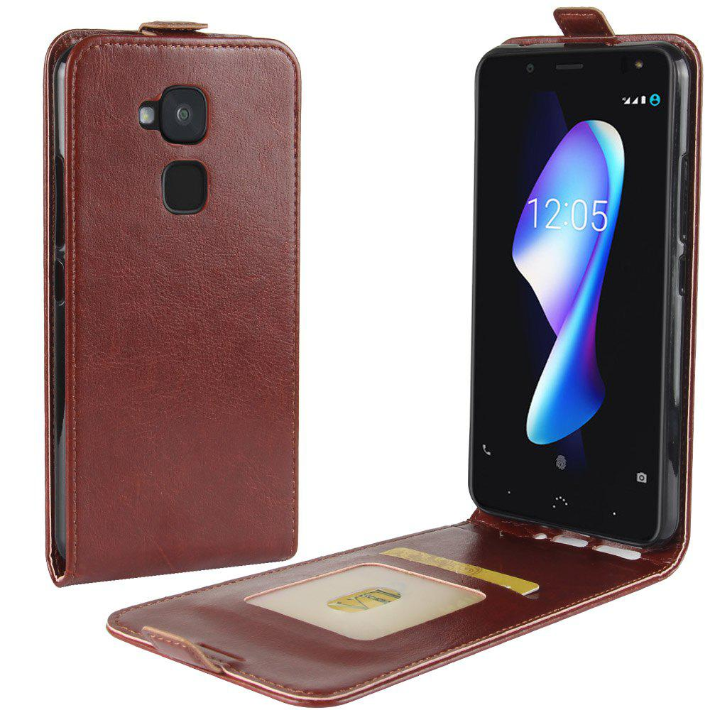 Durable Crazy Horse Pattern Up and Down Style Flip Buckle PU Leather Case for BQ Aquaris V Plus - BROWN
