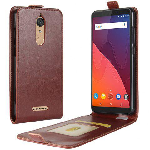 Durable Crazy Horse Pattern Up and Down Style Flip Buckle PU Leather Case for Wiko View - BROWN