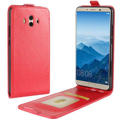 Durable Crazy Horse Pattern Up and Down Style Flip Buckle PU Leather Case for Huawei Mate 10 - RED