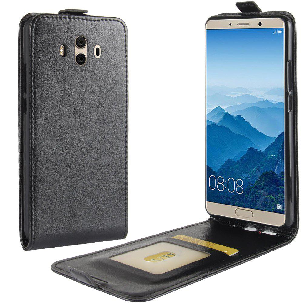 Durable Crazy Horse Pattern Up and Down Style Flip Buckle PU Leather Case for Huawei Mate 10 - BLACK