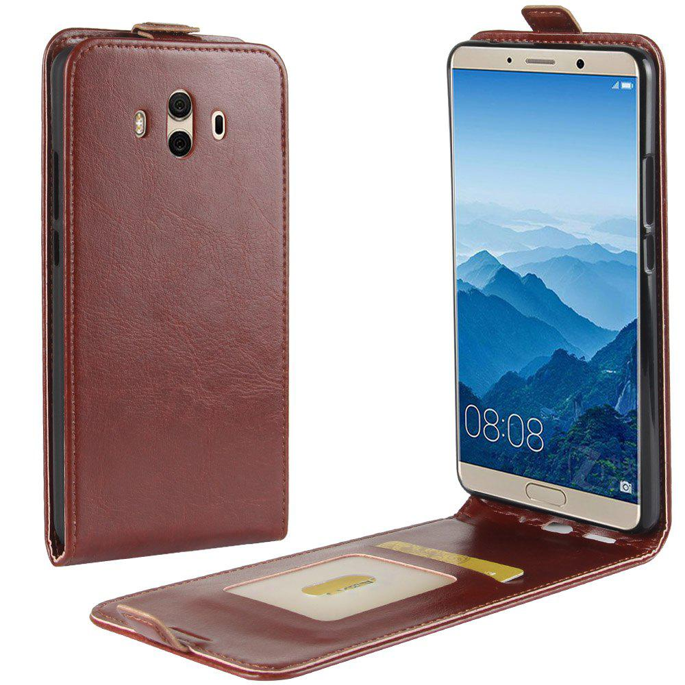 Durable Crazy Horse Pattern Up and Down Style Flip Buckle PU Leather Case for Huawei Mate 10 - BROWN