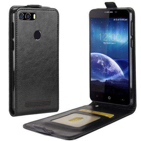 Durable Crazy Horse Pattern Up and Down Style Flip Buckle PU Leather Case for Leagoo Kiicaa Power - BLACK