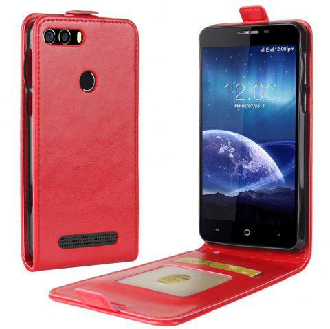 Durable Crazy Horse Pattern Up and Down Style Flip Buckle PU Leather Case for Leagoo Kiicaa Power - RED