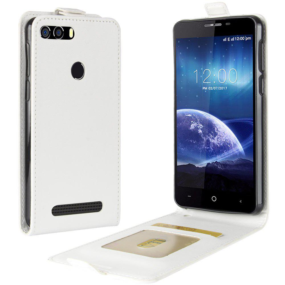Durable Crazy Horse Pattern Up and Down Style Flip Buckle PU Leather Case for Leagoo Kiicaa Power - WHITE