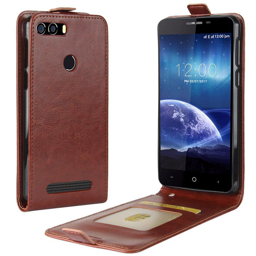 Durable Crazy Horse Pattern Up and Down Style Flip Buckle PU Leather Case for Leagoo Kiicaa Power - BROWN