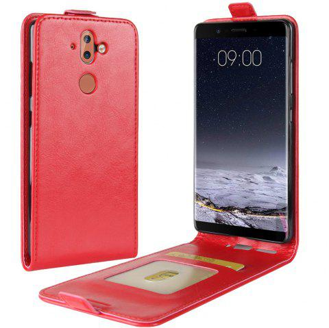 Durable Crazy Horse Pattern Up and Down Style Flip Buckle PU Leather Case for Nokia 9 - RED