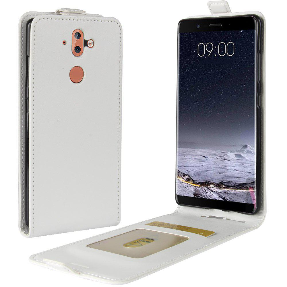 Durable Crazy Horse Pattern Up and Down Style Flip Buckle PU Leather Case for Nokia 9 - WHITE