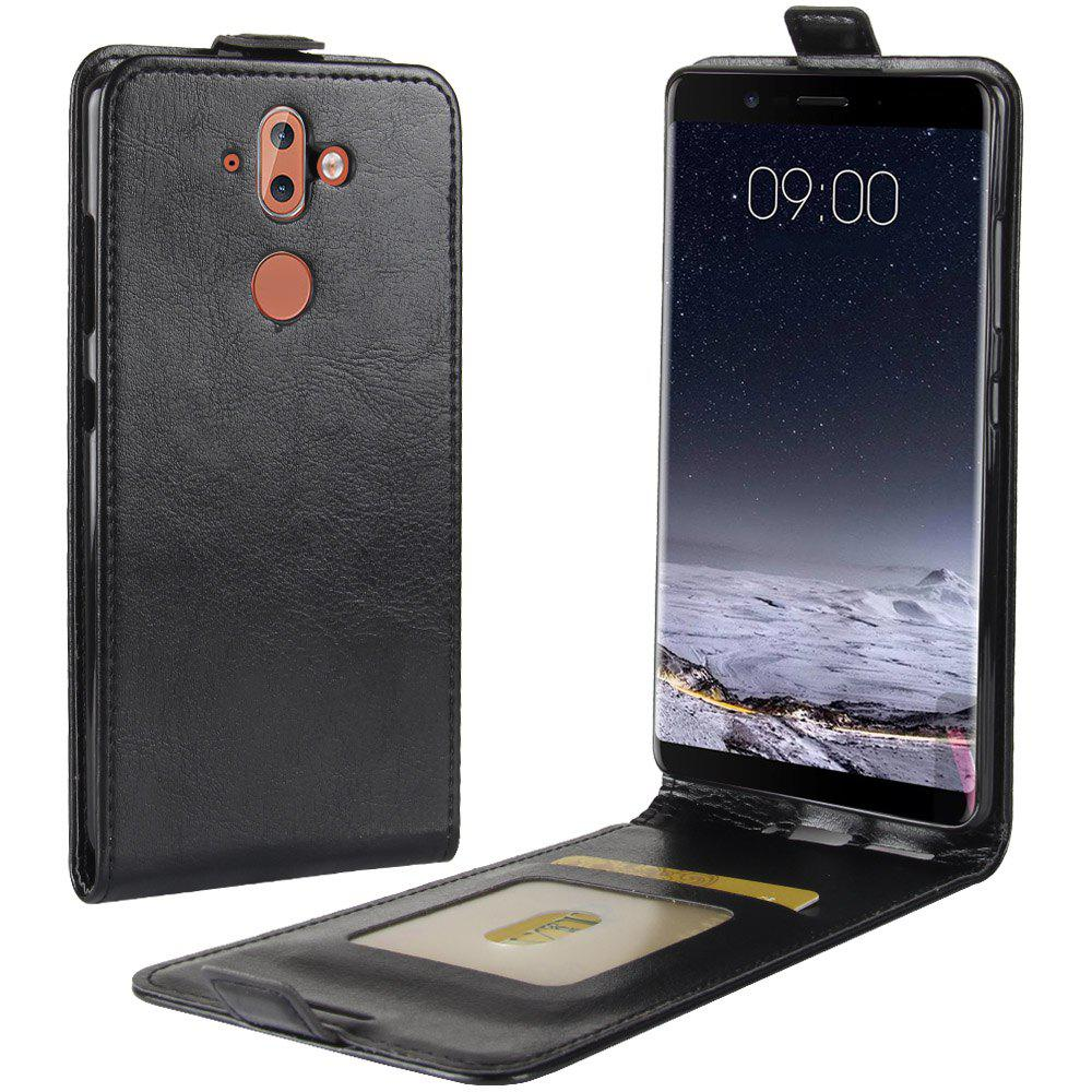 Durable Crazy Horse Pattern Up and Down Style Flip Buckle PU Leather Case for Nokia 9 - BLACK
