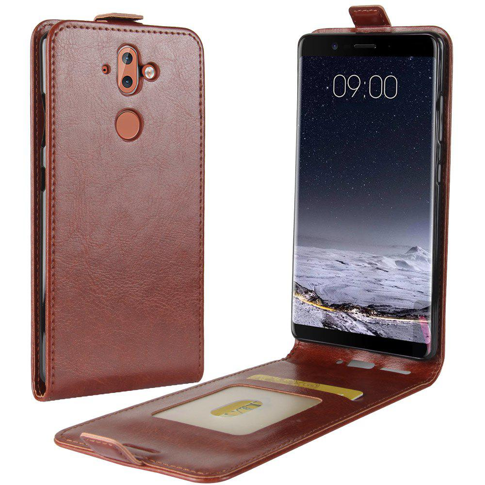 Durable Crazy Horse Pattern Up and Down Style Flip Buckle PU Leather Case for Nokia 9 - BROWN