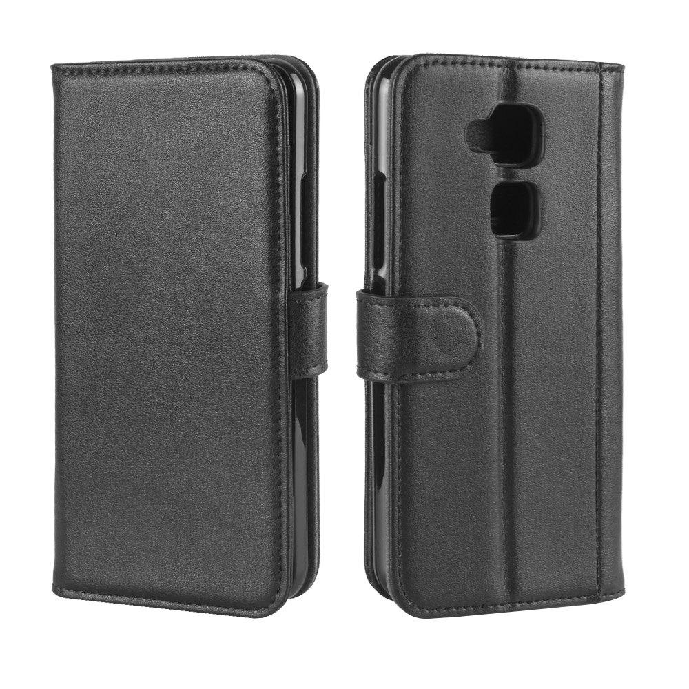 Solid Color Real Cow Leather Wallet Style Front Buckle Flip Case with Card Slots for BQ Aquaris V - BLACK