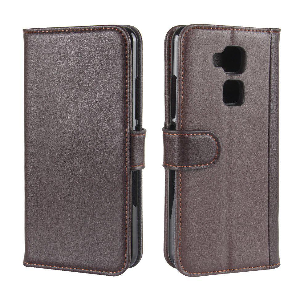 Solid Color Real Cow Leather Wallet Style Front Buckle Flip Case with Card Slots for BQ Aquaris V - BROWN
