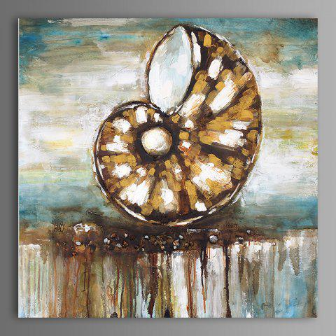 XiangYunChengFeng  Abstract Conch Shell Home Decor Canvas Oil Painting - TAN 50 X 50CM