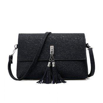 New Fashion Shoulder Diagonal Cross Leather Small Bag - BLACK BLACK