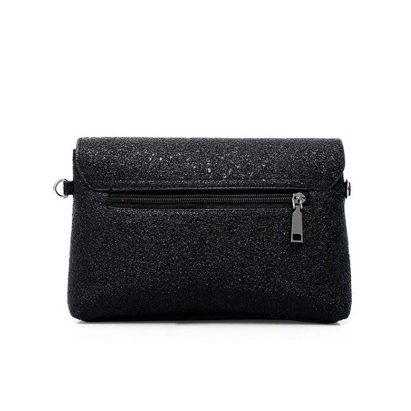 New Fashion Shoulder Diagonal Cross Leather Small Bag - BLACK HORIZONTAL