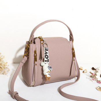 Women's Handbag Solid Flower Pattern Bear Pendant Versatile Bag - PINK PINK