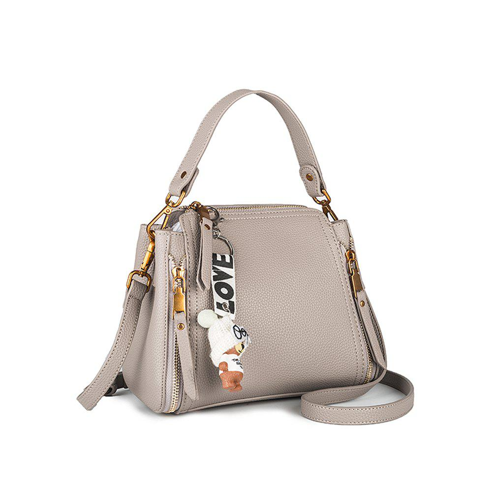 Women's Handbag Solid Flower Pattern Bear Pendant Versatile Bag - GRAY HORIZONTAL