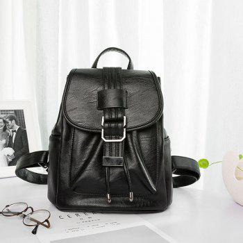 Women's Backpack Solid Color All-match Large Capacity Faddish Bag - BLACK BLACK
